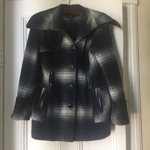 Miss Sixty Blue and White Plaid Warm Winter Coat.
